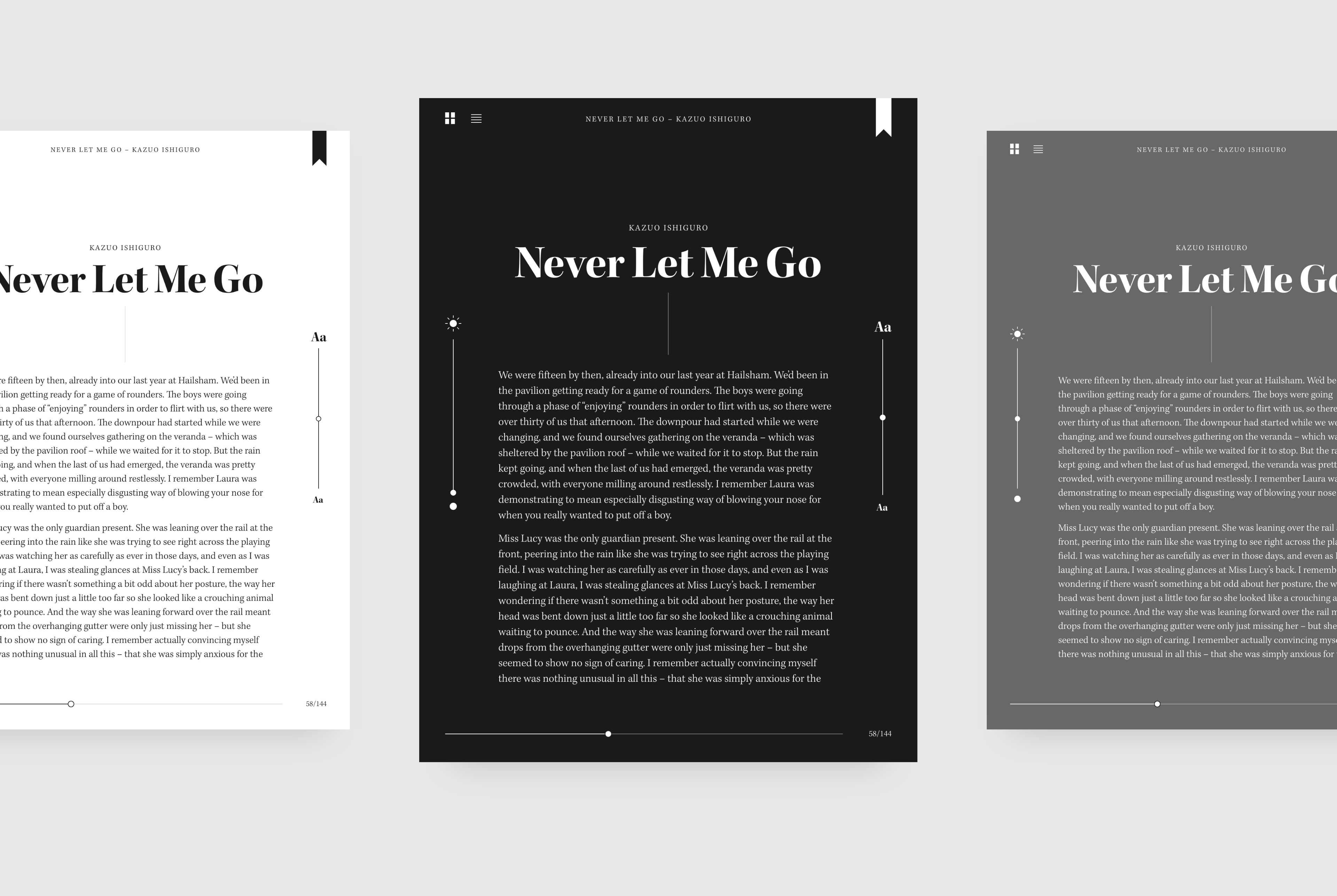 A preview of the book application in 3 colours.